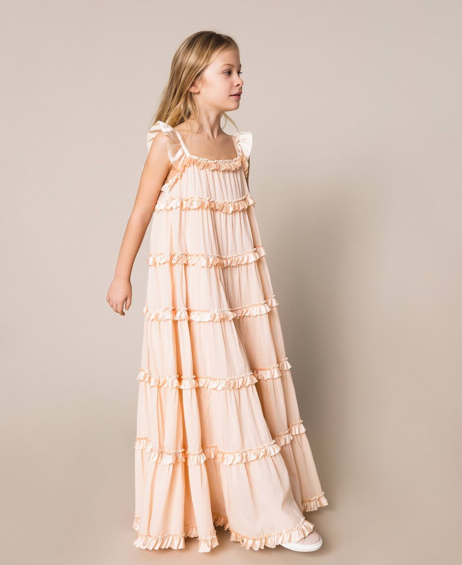 Full-length muslin and satin gown Bud Pink Child 201GJ2Q40-02