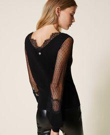 Jersey con tul y encaje Negro Mujer 202TP3381-01