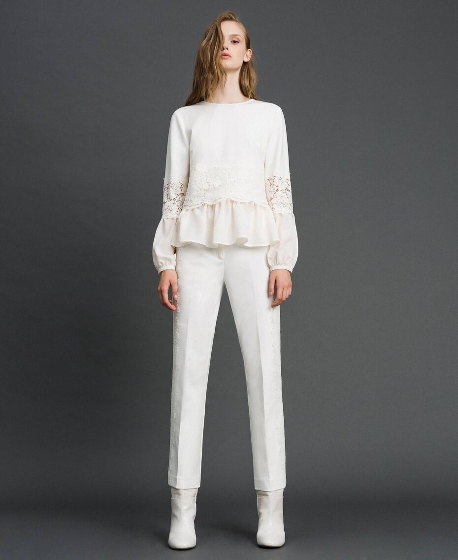 Cropped trousers with lace White Snow Woman 192TT2210-02