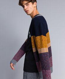 Colour block wool blend cardigan Multicolour Mouliné Man Man UA83GB-03