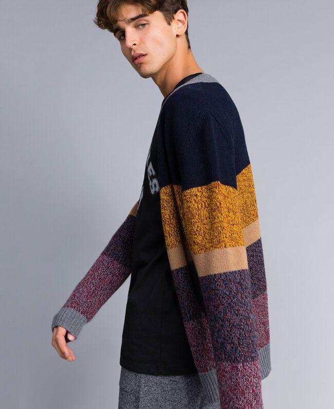 Cardigan en laine mélangée color block Multicolore Mouliné Homme Homme UA83GB-03