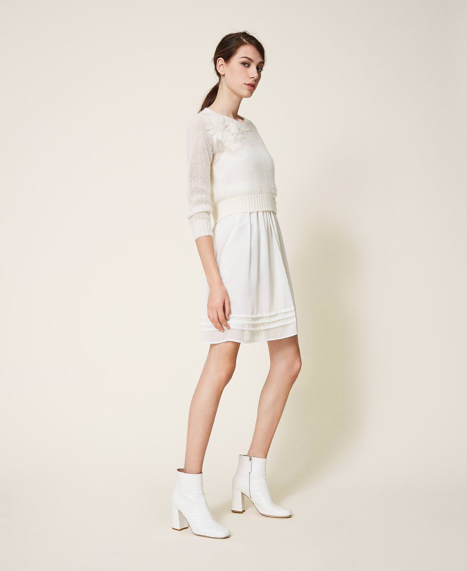 Slip dress and mohair jumper Creamy White Woman 202TP3262-01