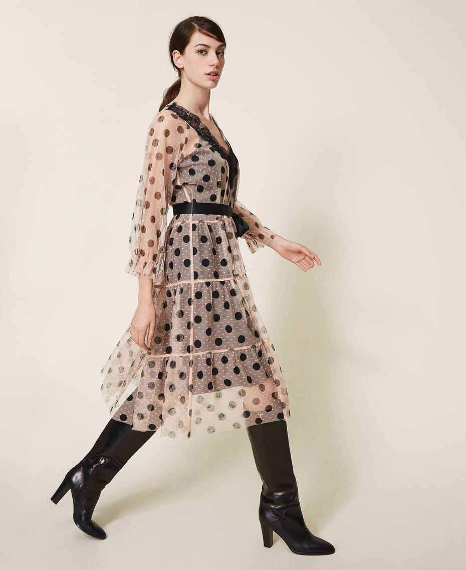 Tulle dress with lace and belt Nude Beige Polka Dot Print Woman 202ST2064-02