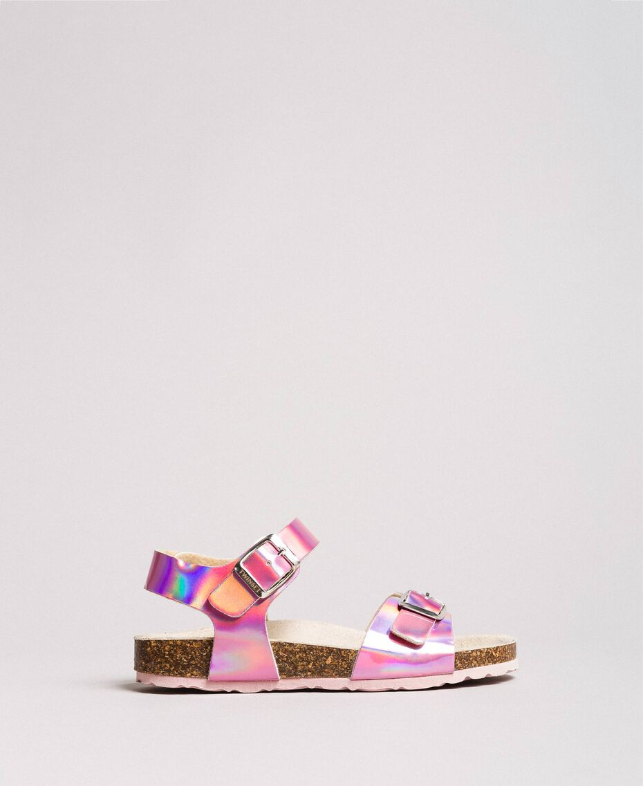 """Laminated leather sandals """"Crystal Pink"""" Child 191GCJ162-03"""