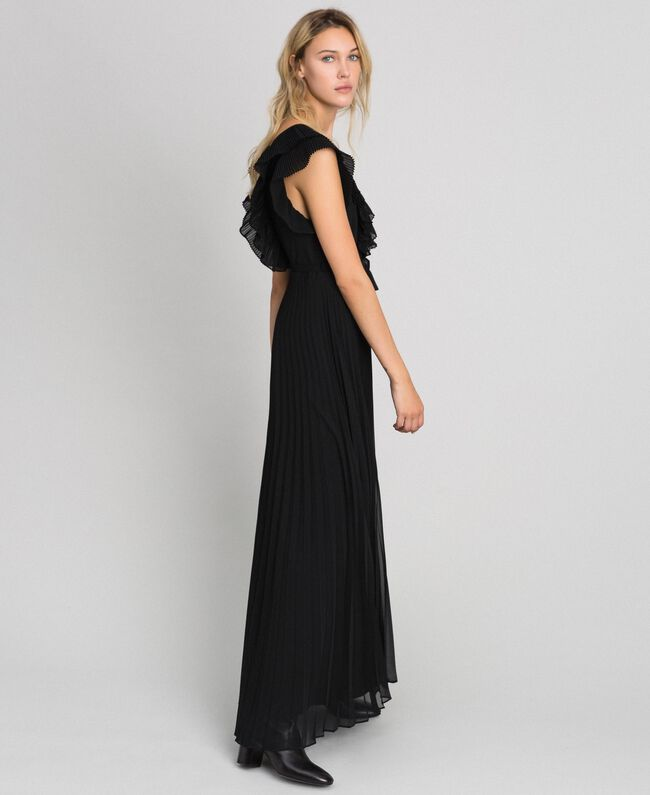 Pleated georgette long dress Black Woman 192TT2070-01
