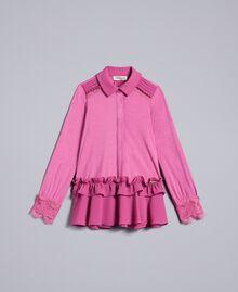Bluse aus Jersey mit Volants Rosa Bouganville Kind GA82HB-01