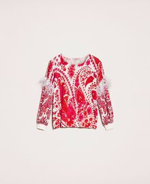 "Printed jumper with feathers ""Lava"" Red Cashmere Print/ ""Blossom"" Pink Woman 201TP3267-0S"