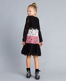 Robe en dentelle multicolore Multicolore Rose « Blush » / Noir / Roses Enfant GA82QC-03