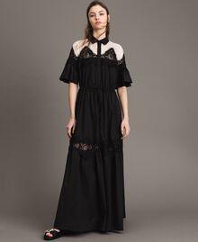 Robe chemise longue en popeline ornée de dentelle Noir Femme 191TT2122-02