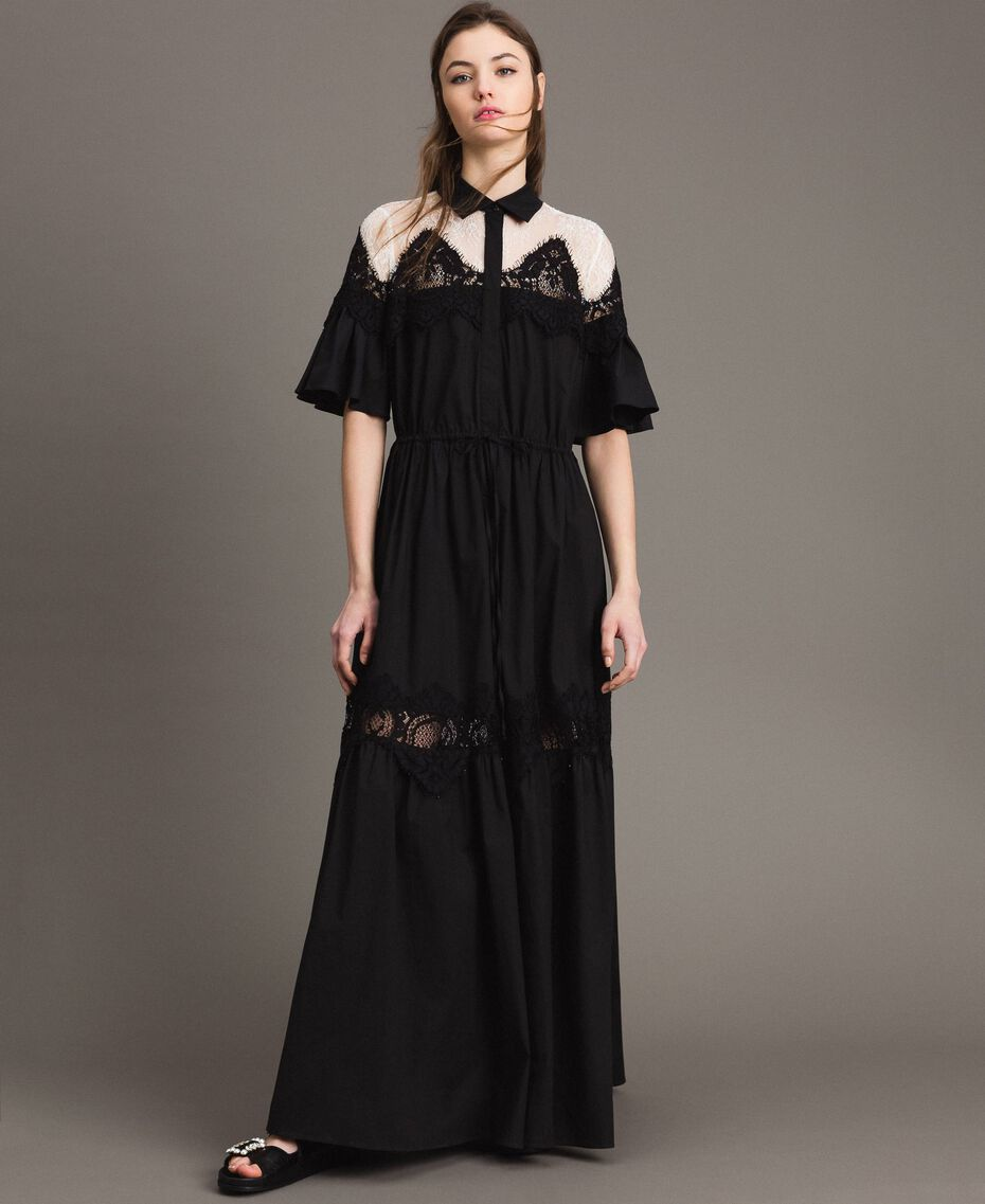 Poplin long shirt dress with lace Black Woman 191TT2122-02