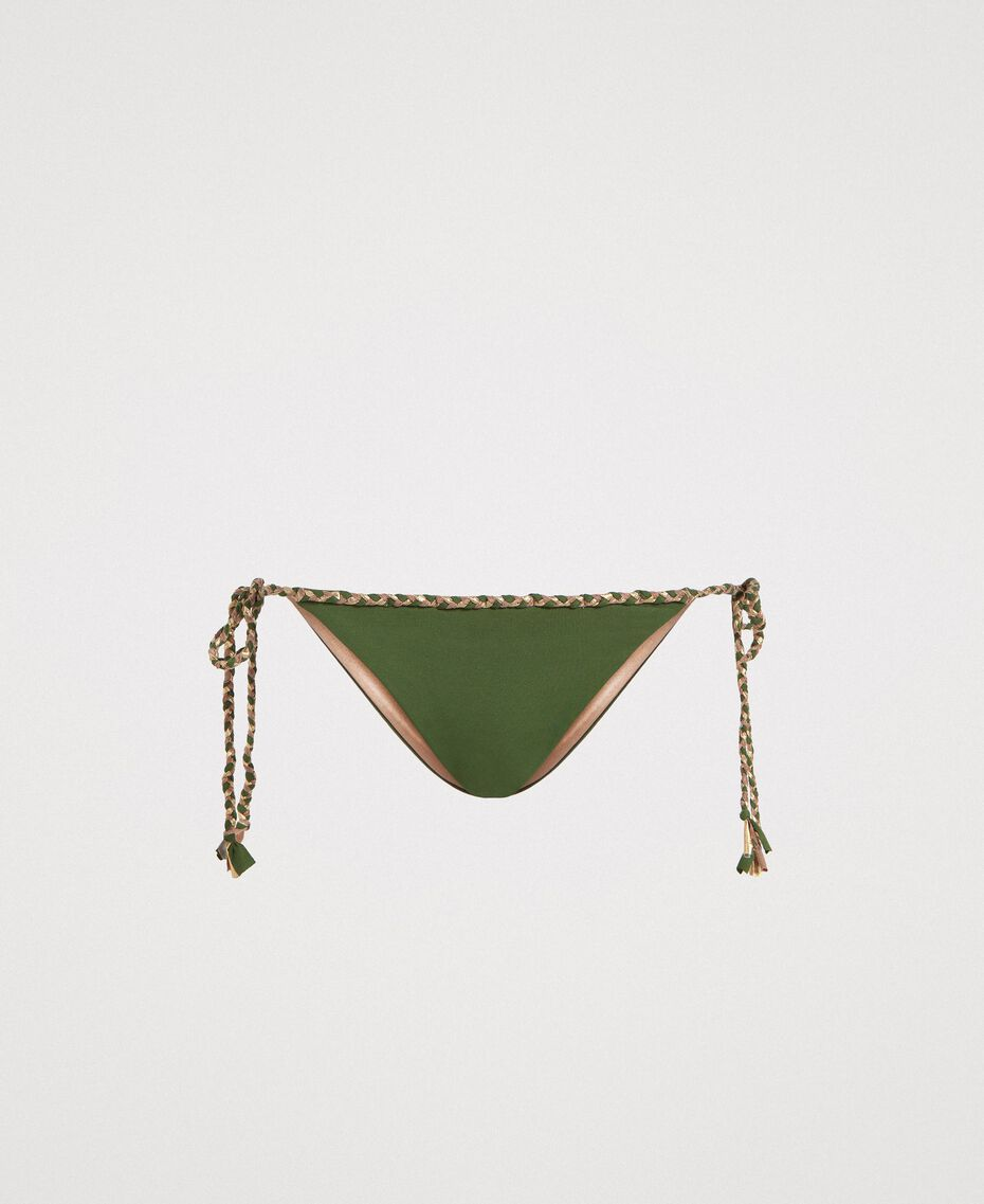 Bas de bikini tanga avec lacets torsadés Vert Amazone Femme 191LMMC88-01
