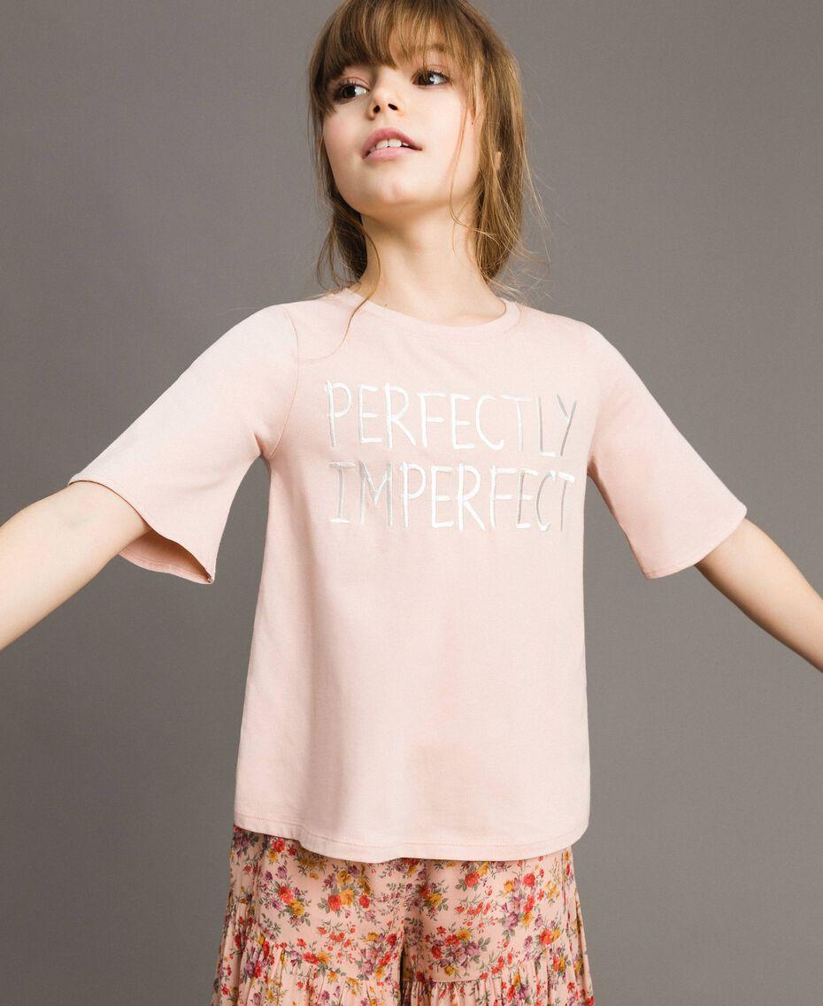 T-Shirt aus Jerseystoff mit Stickerei Blütenrosa Kind 191GJ2032-0S