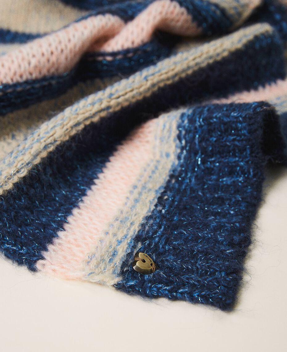 Multicolour stripe scarf Blue Striped Multicolour Woman 202MA4335-02