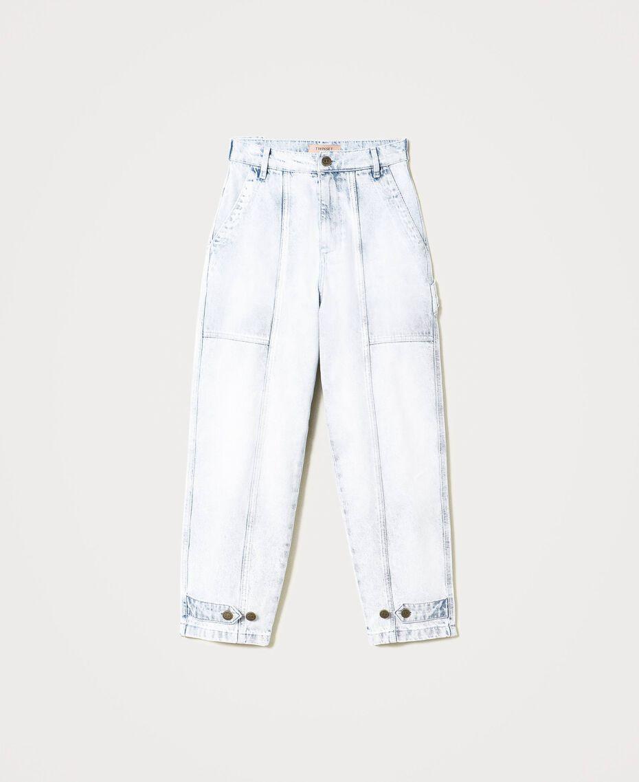 Jean cargo avec pattes de serrage Bleu «Beach» Brodé Femme 211TT243B-0S