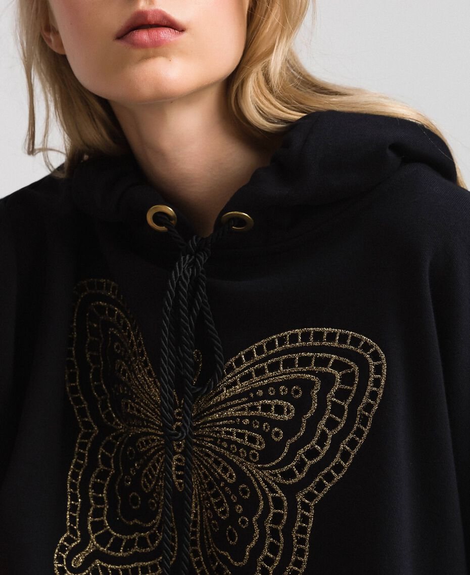 Butterfly embroidery sweatshirt Black Woman 192TT2133-05