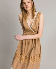 """Voile long dress with broderie anglaise embroidery Two-tone """"Savannah"""" Beige / Ecru Woman 191ST2114-04"""