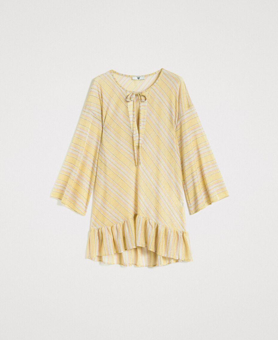 """Striped lurex caftan """"Bronze"""" Brown / """"Lemon Juice"""" Yellow Multicolour Striping Woman 191LB2AJJ-0S"""