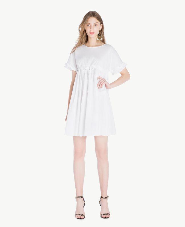 Kleid aus Popeline Weiß Frau TS821A-01
