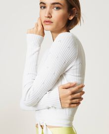 'Lynx' ribbed cropped cardigan Vanilla White Woman 211MT3060-05