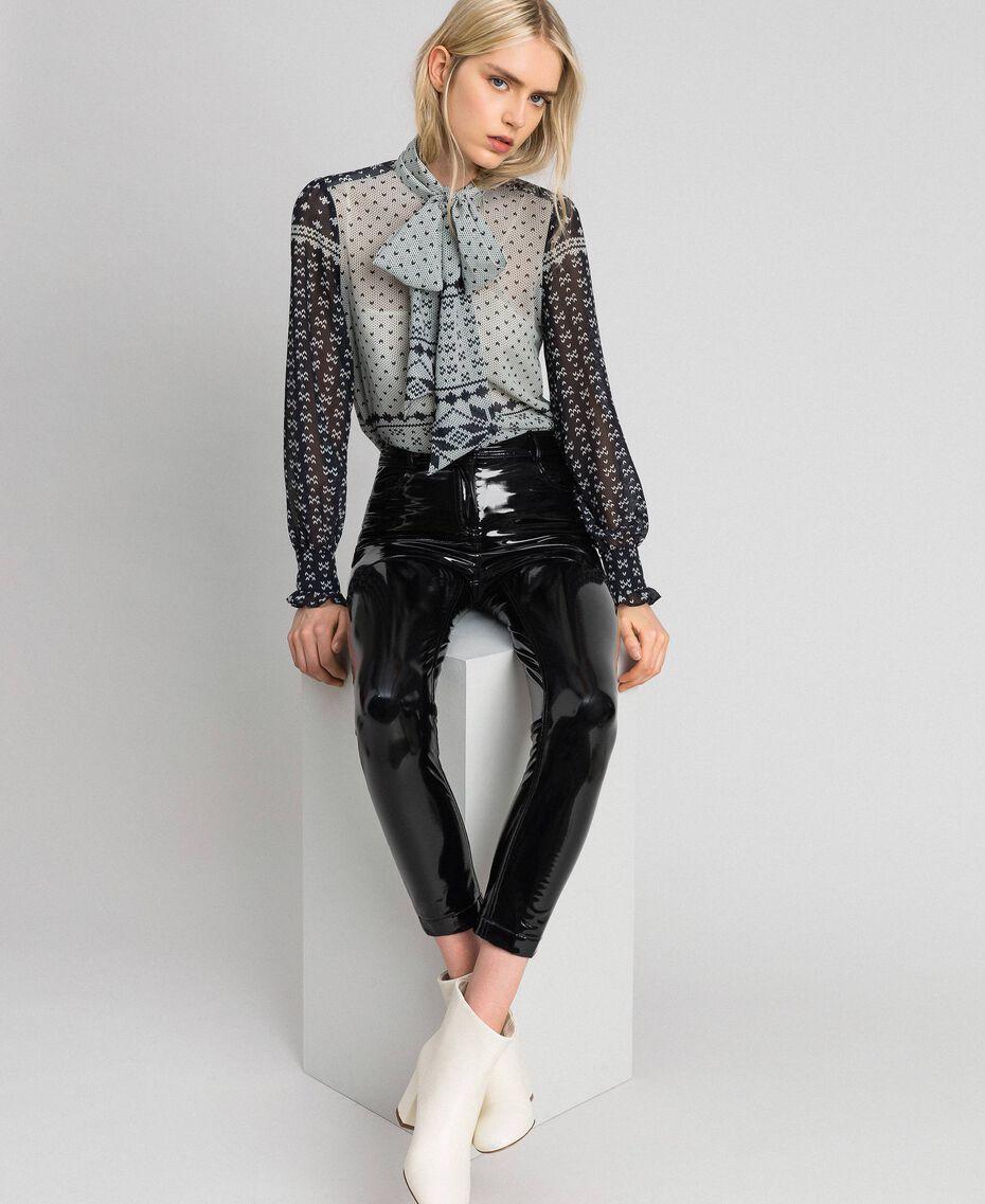 "Printed georgette shirt Black and Vanilla ""Air De Neige"" Mix Print Woman 192MT2391-01"