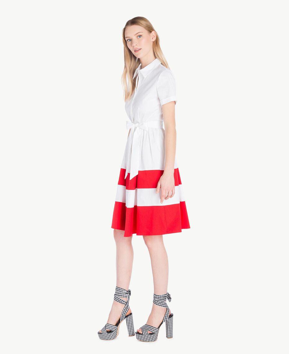 Robe chemisier popeline Bicolore Blanc Optique / Rouge Feu Femme YS82FC-02