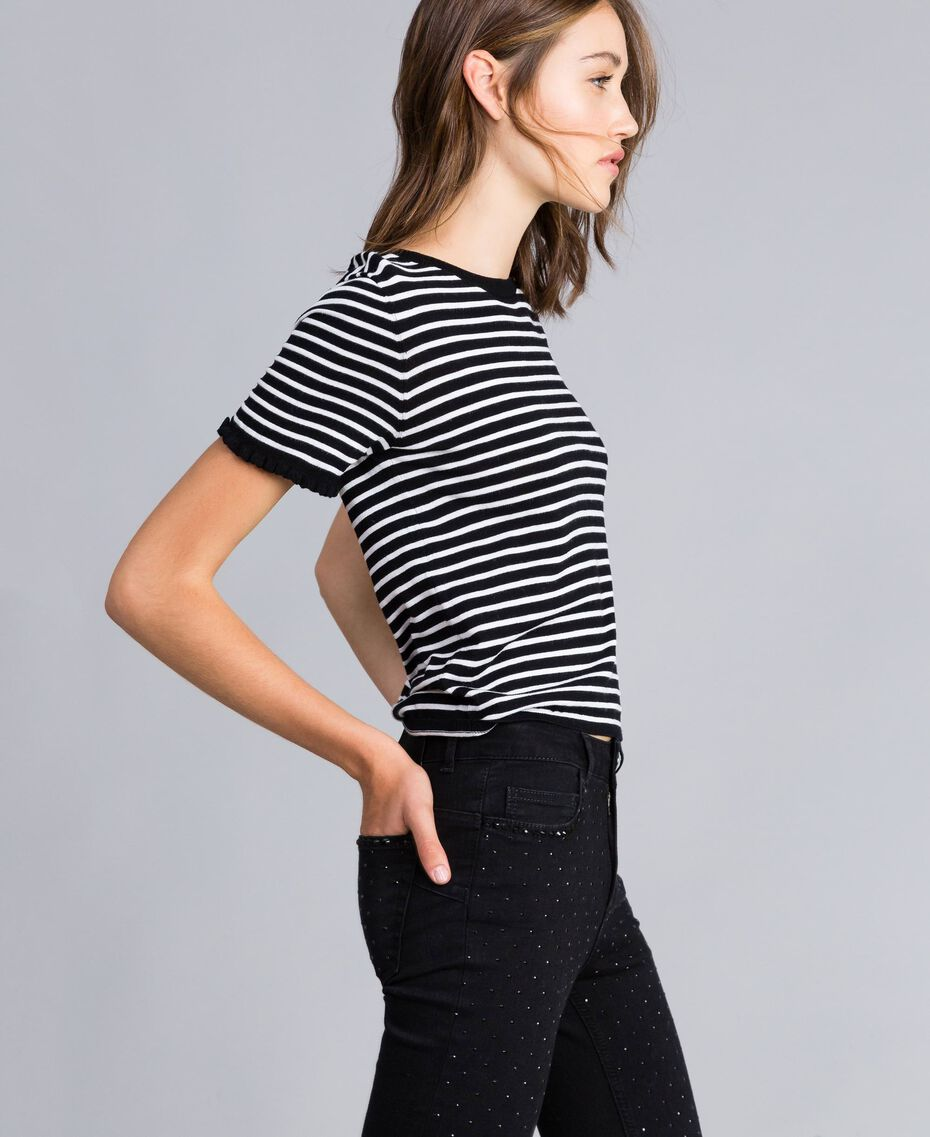 Two-tone striped jumper with ruches Black / Mother-of-pearl White Stripe Woman JA83BN-02