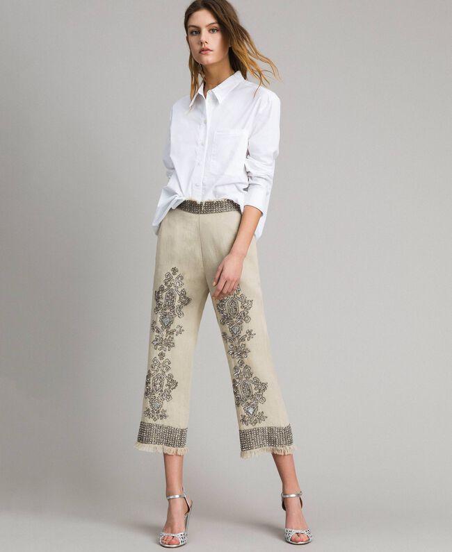 """Pantalon en lin orné de perles et de sequins Beige """"Sable"""" Femme 191TT2061-03"""