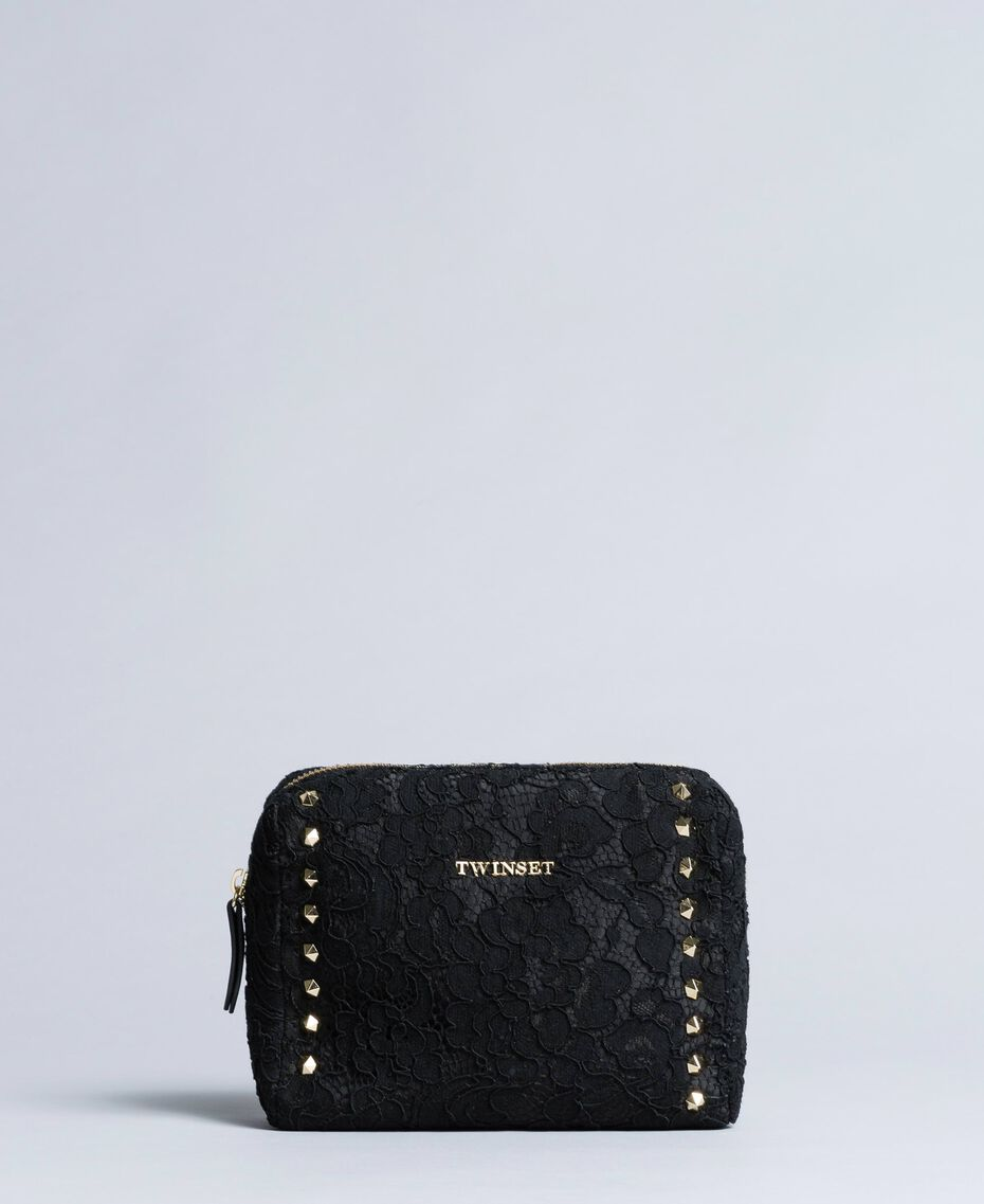 Beauty case in similpelle rivestito in pizzo Nero Donna AA8PFR-01