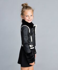 Veste en similicuir bicolore Bicolore Noir / Blanc Cassé Enfant GA82BU-02