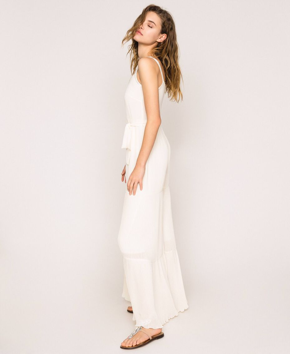 Pleated georgette jumpsuit with embroidery Antique White Woman 201TT2091-02