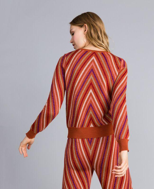 Pull jacquard à rayures lurex multicolores Jacquard Rayure Orange Brûlée Femme TA838C-03