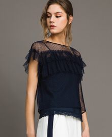 Tulle blouse with slip top Blue Shadow Woman 191ST2070-02