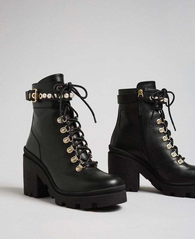 Leather combat boots with heel and pearls Black Woman 192TCP01C-01