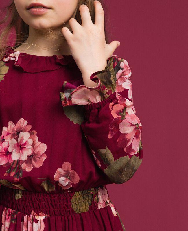 Kleid aus Georgette mit Blumenprint Print Rote-Bete-Rot Geranie Kind 192GJ2592-03