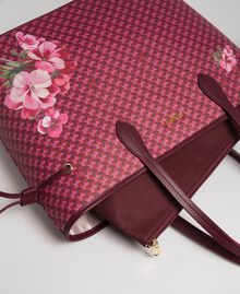 Printed shopper with clutch Beet Red Butterfly Floral Print Woman 192TA7017-02