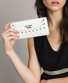 Faux leather wallet with studs White Cream Woman 191MA7144-0S