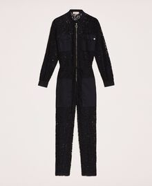 Macramé lace jumpsuit Black Woman 201TP2195-0S