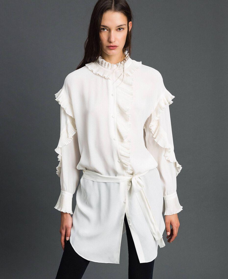 Kleid aus Crêpe de Chine aus Seidenmischung Weiß Schnee Frau 192TP2101-02