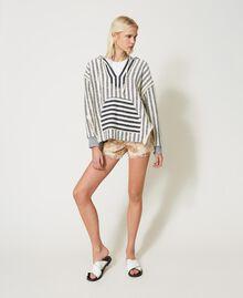 "Oversize striped hoodie ""Ivory Mat"" Grey / Blue Mixed Stripe Woman 211TT2060-0T"