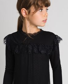 Mesh, tulle and lace long dress Black Child 192GJ2322-03