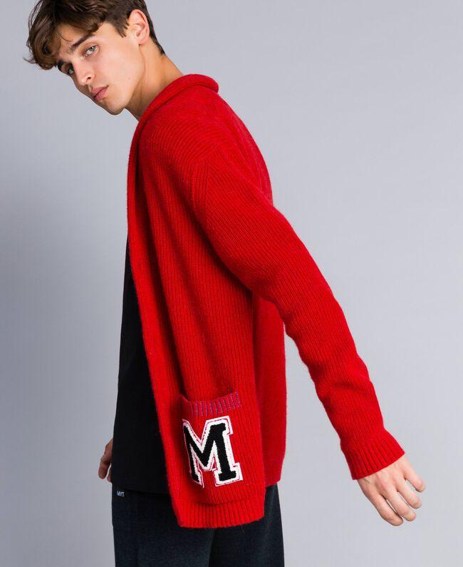 Cardigan in lana e alpaca Rosso Papavero Uomo UA83DB-01