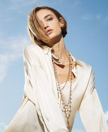"""Necklace with charm, cross and bow """"Nude"""" Beige Woman 202TA4315-0S"""