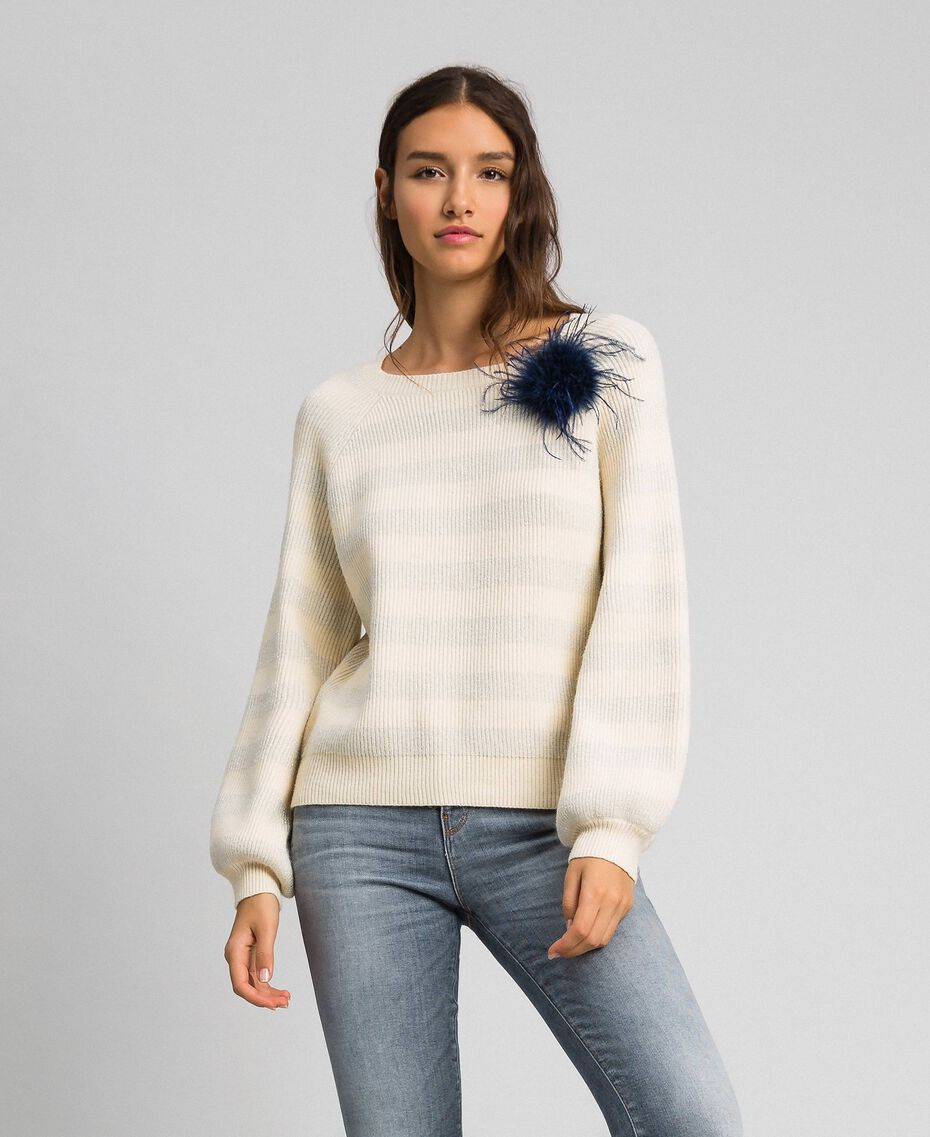"Two-tone striped jumper with lurex and brooch ""Creamy"" White Striped / Silver Woman 192ST3080-02"
