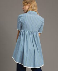 """Blouse à rayures avec strass Rayures Bleu Bleuet / Vert """"Evergreen"""" Femme 191TP2310-03"""