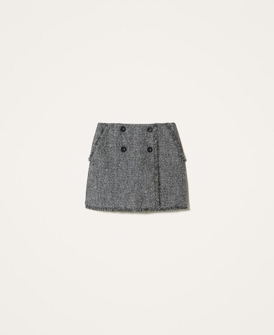 Minifalda bouclé con lentejuelas Negro Mujer 202MT218B-0S