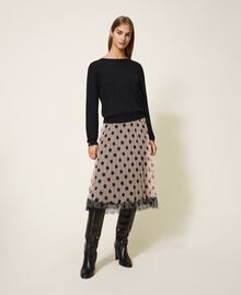 Pleated tulle skirt with lace Nude Beige Polka Dot Print Woman 202ST2065-01