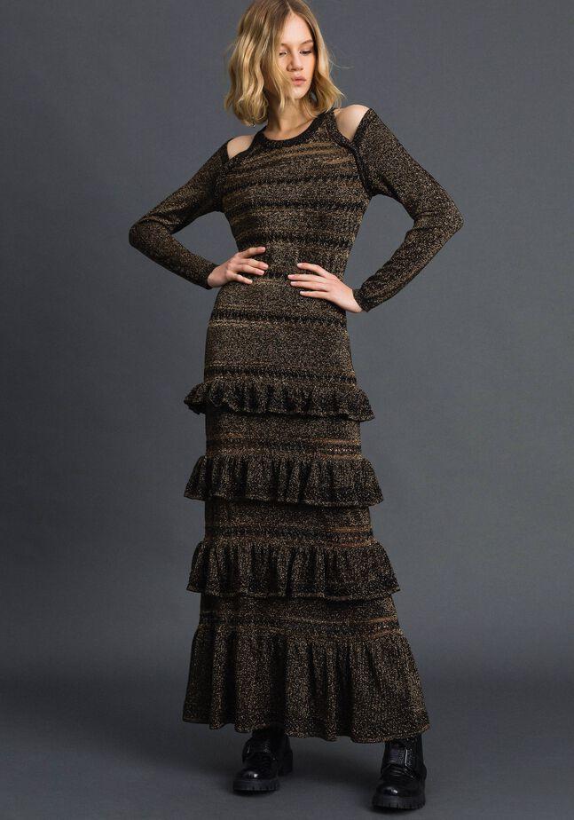 Lurex knit long dress with flounces