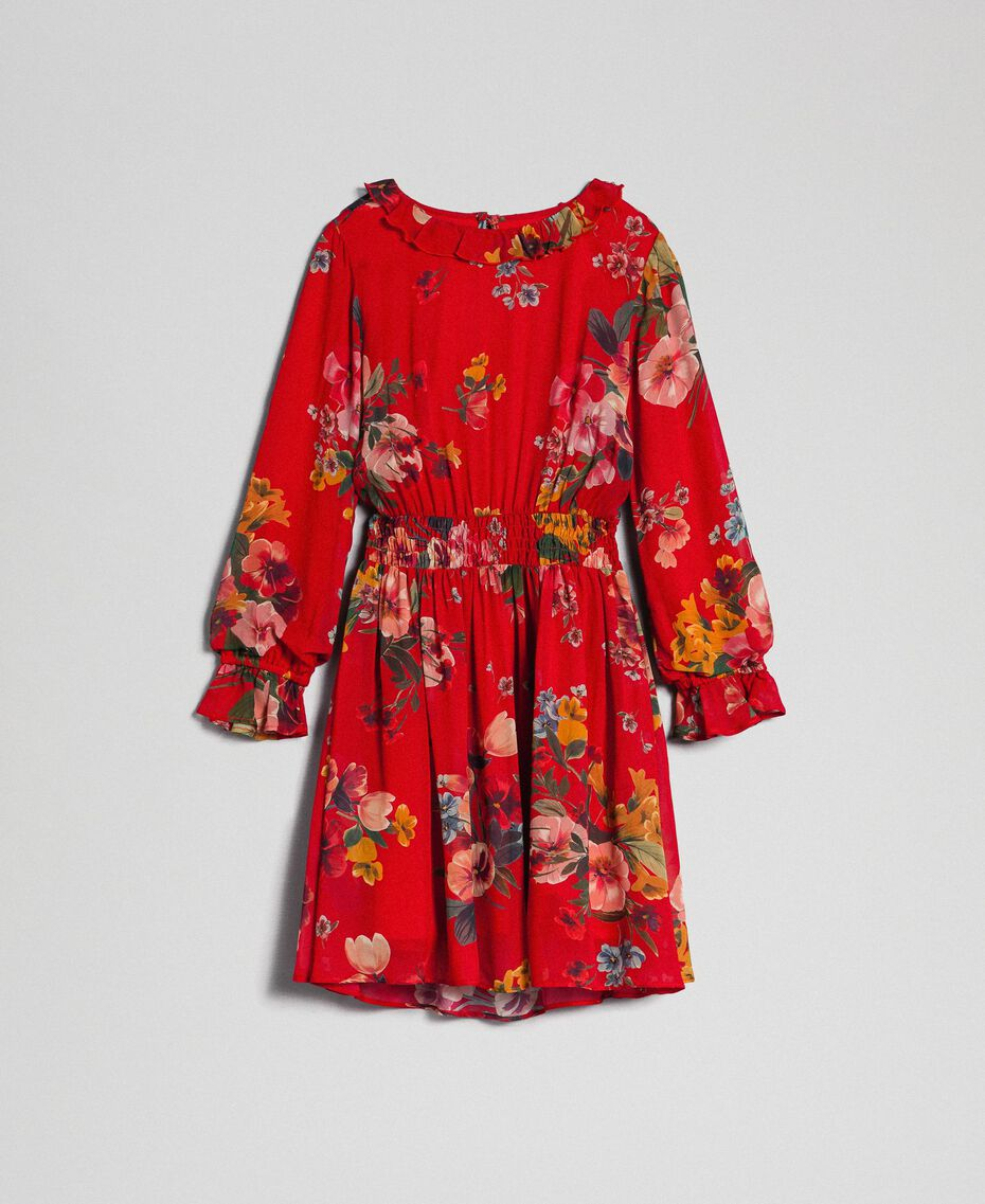 Floral print georgette dress Pomegranate Meadow Print Child 192GJ2592-0S