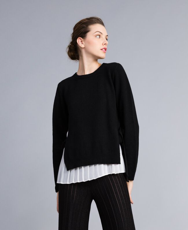 """Wool and cashmere jumper with pleated top Bicolour Black / """"Snow"""" White Woman PA831C-01"""
