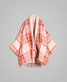 "Check wool cloth poncho ""Pink Check"" Woman 191TP2621-0S"